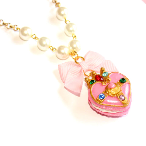 Cosmic Heart Compact Macaron Pearl Necklace