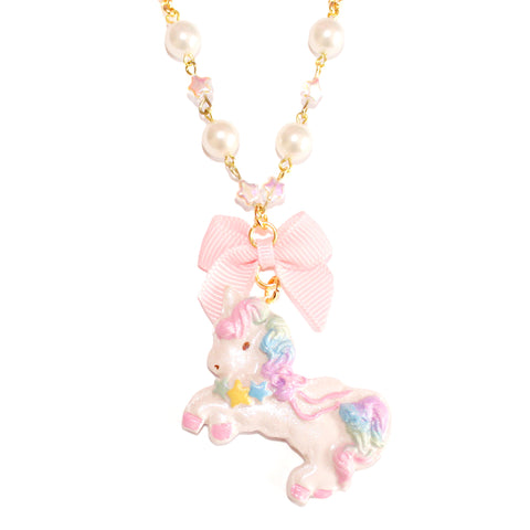 Twin Stars Unicorn Bon Bon Pearl & Bow Necklace