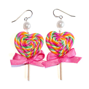 Rainbow Heart Lollipop Earrings
