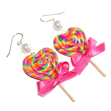 Load image into Gallery viewer, Rainbow Heart Lollipop Earrings
