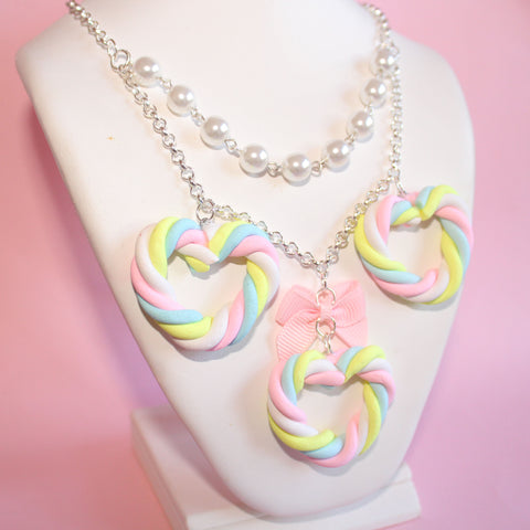 Marshmallow Heart Statement Necklace
