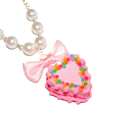 Heart Pink Birthday Cake Necklace