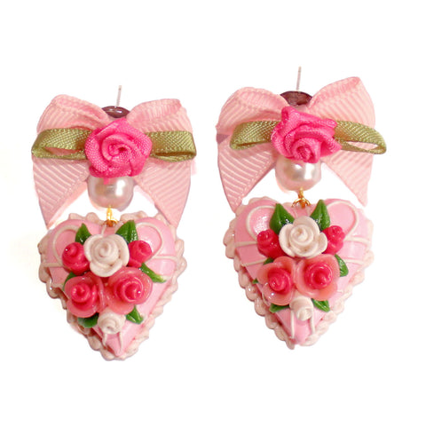 Marie Antoinette Pink Heart Cake Earrings