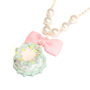 Pastel Mint Green Birthday Cake Necklace
