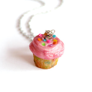 Pink Funfetti Cupcake Necklace or Charm