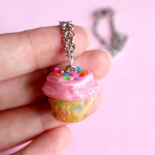 Load image into Gallery viewer, Pink Funfetti Cupcake Necklace or Charm