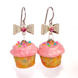 Pink Funfetti Cupcake Earrings, Confetti Cupcake Earrings
