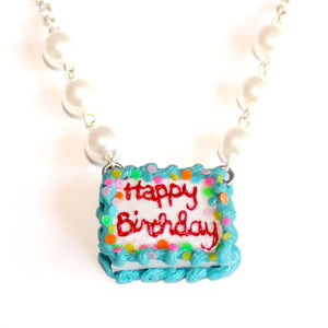 Blue Happy Birthday Cake Necklace