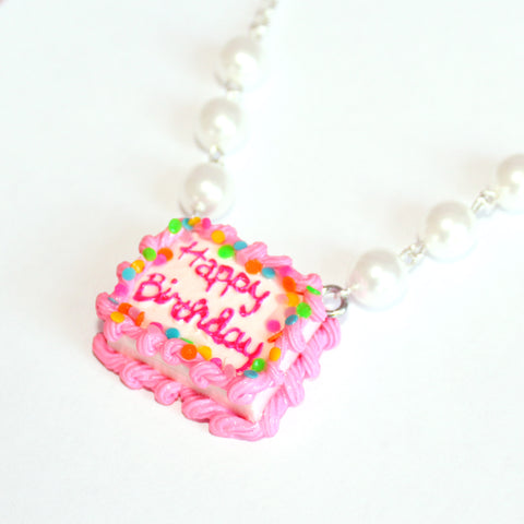 Pink Happy Birthday Cake Necklace