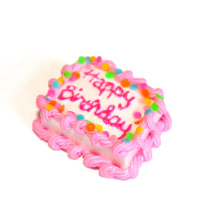 Pink Happy Birthday Cake Brooch Pin