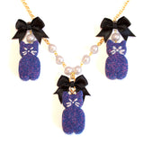 Black Cat Marshmallow Peep SET - Necklace & Earrings - Fatally Feminine Designs