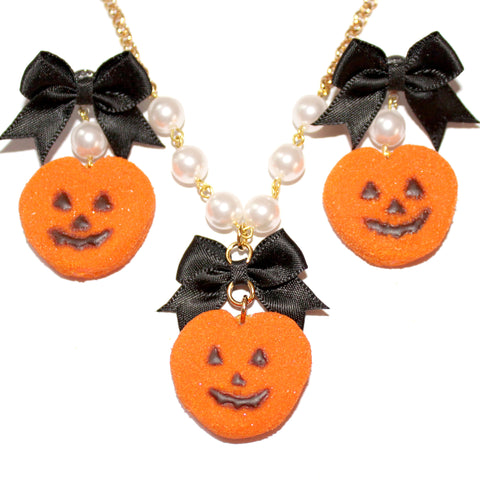 Pumpkin Marshmallow Peep SET - Necklace & Earrings - Fatally Feminine Designs