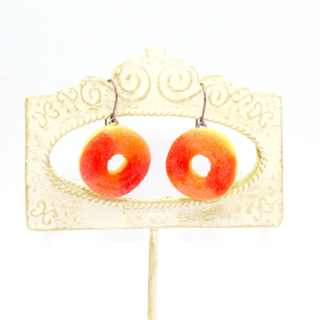 Gummy Peach Ring Earrings - Gold or Silver - Fatally Feminine Designs