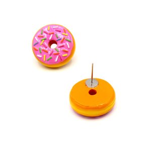 Pink Donut Stud Earrings - Fatally Feminine Designs