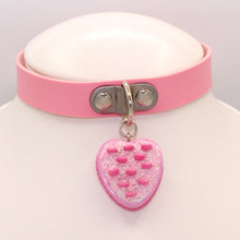 Load image into Gallery viewer, Pink Heart Cake Choker - Vegan Leather