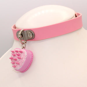 Pink Heart Cake Choker - Vegan Leather