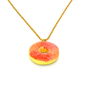 Gummy Peach Ring Necklace - Gold or Silver - Fatally Feminine Designs