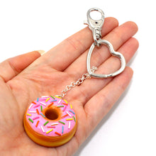 Load image into Gallery viewer, Rainbow Sprinkles Donut Keychain - Fatally Feminine Designs