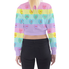 Load image into Gallery viewer, Bittersweet Candy Hearts Pastel Rainbow Cropped Sweater