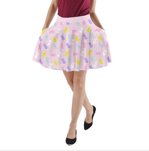 Pastel Peeps Bunny A-line Skirt with Pockets
