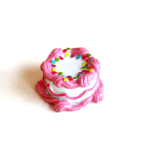 Pink Birthday Cake Pin Brooch
