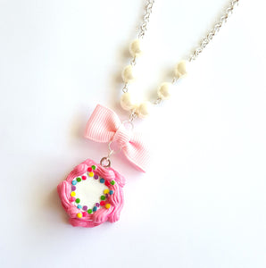 Classic Pink Birthday Cake Necklace