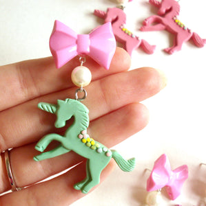 Pastel Bow and Unicorn Earrings