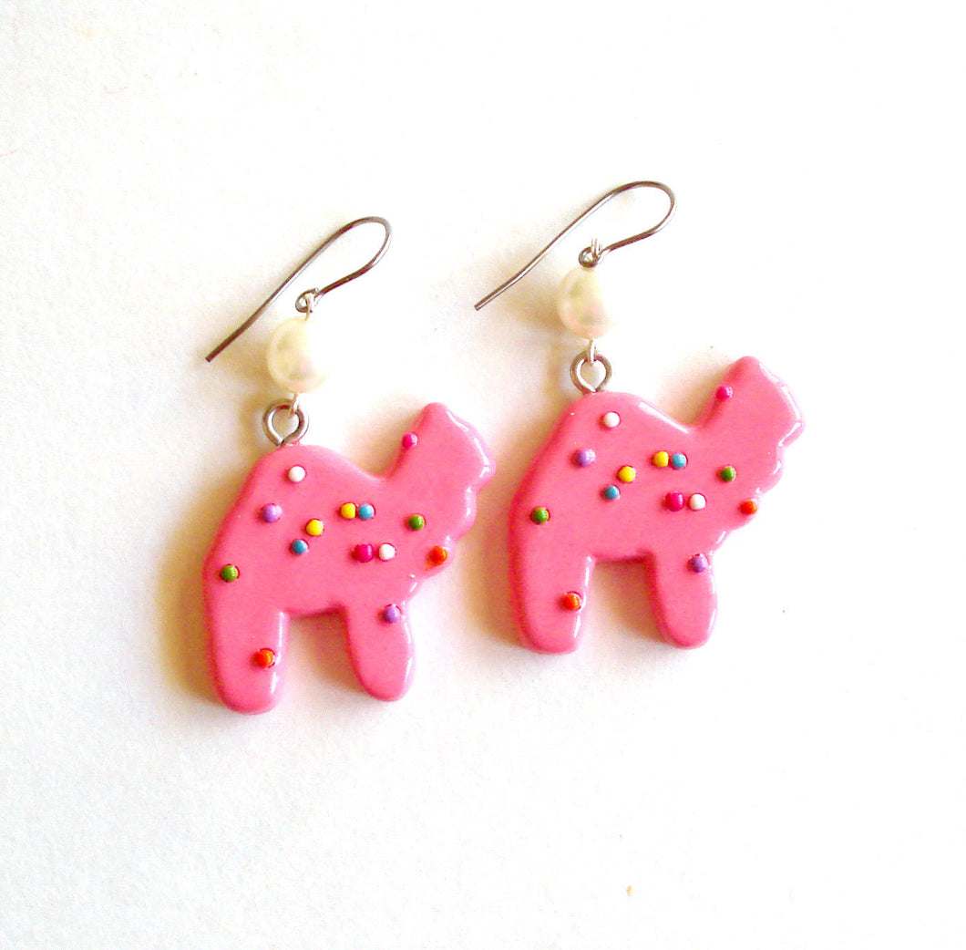 Frosted Circus Animal Cookie Earrings with Pearls