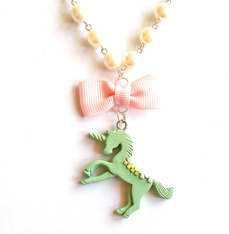 Pastel Unicorn Pearls and Bow Necklace