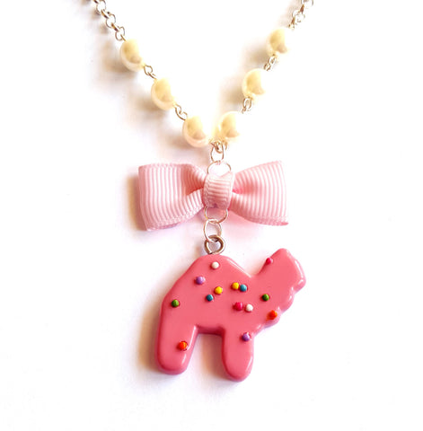 Frosted Circus Animal Cookie Bow & Pearl Necklace