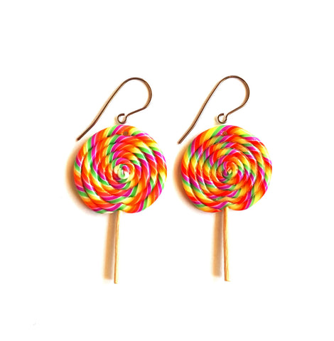 Rainbow Lollipop Earrings, Candy Earrings, Retro Giant Lollipop Charms, Candy Shop, Miniature Food Jewelry