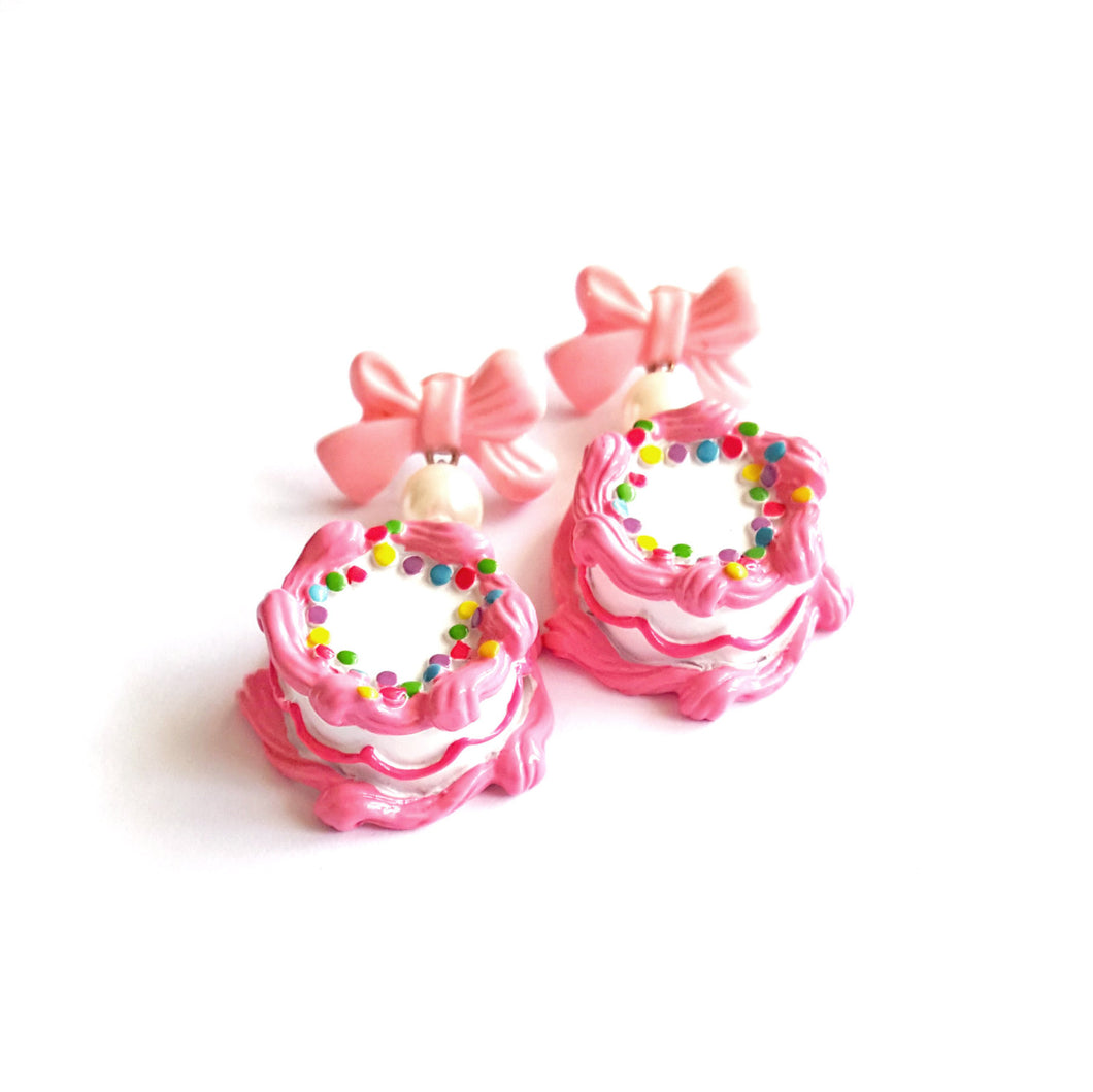 Bow and Pearl Pink Birthday Cake Earrings