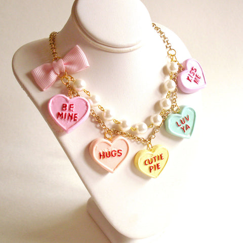 Conversation Heart Statement Necklace Valentines Day