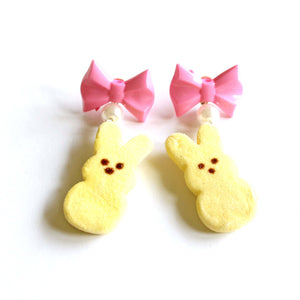 Peeps Marshmallow Bunny Earrings - Fatally Feminine Designs