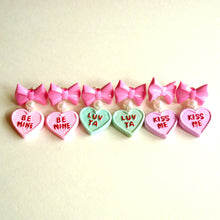 Load image into Gallery viewer, Bow and Pearl Conversation Heart Earrings