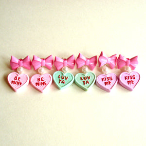 Bow and Pearl Conversation Heart Earrings