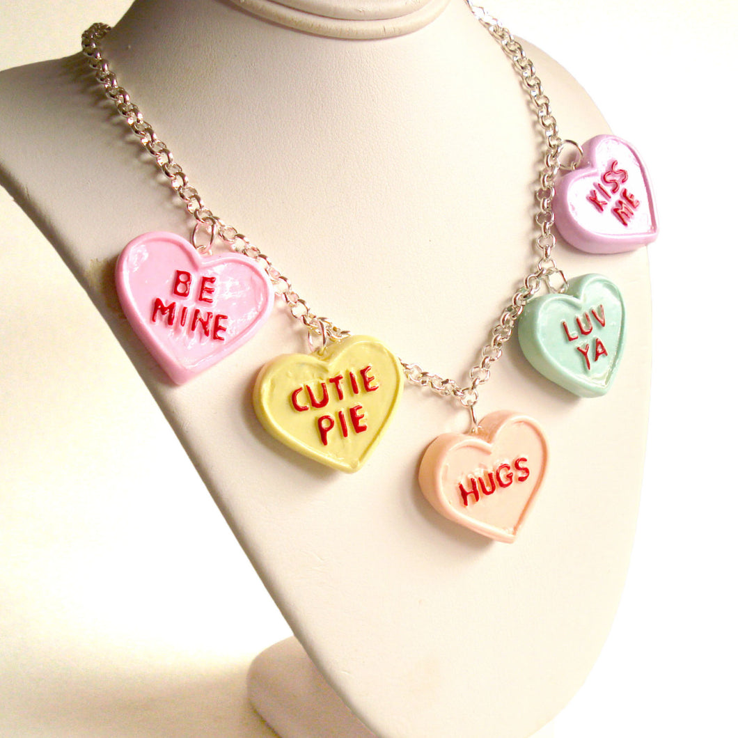 Conversation Heart Charm Necklace Valentines Day