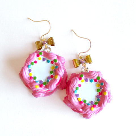 Pink Birthday Cake Earrings