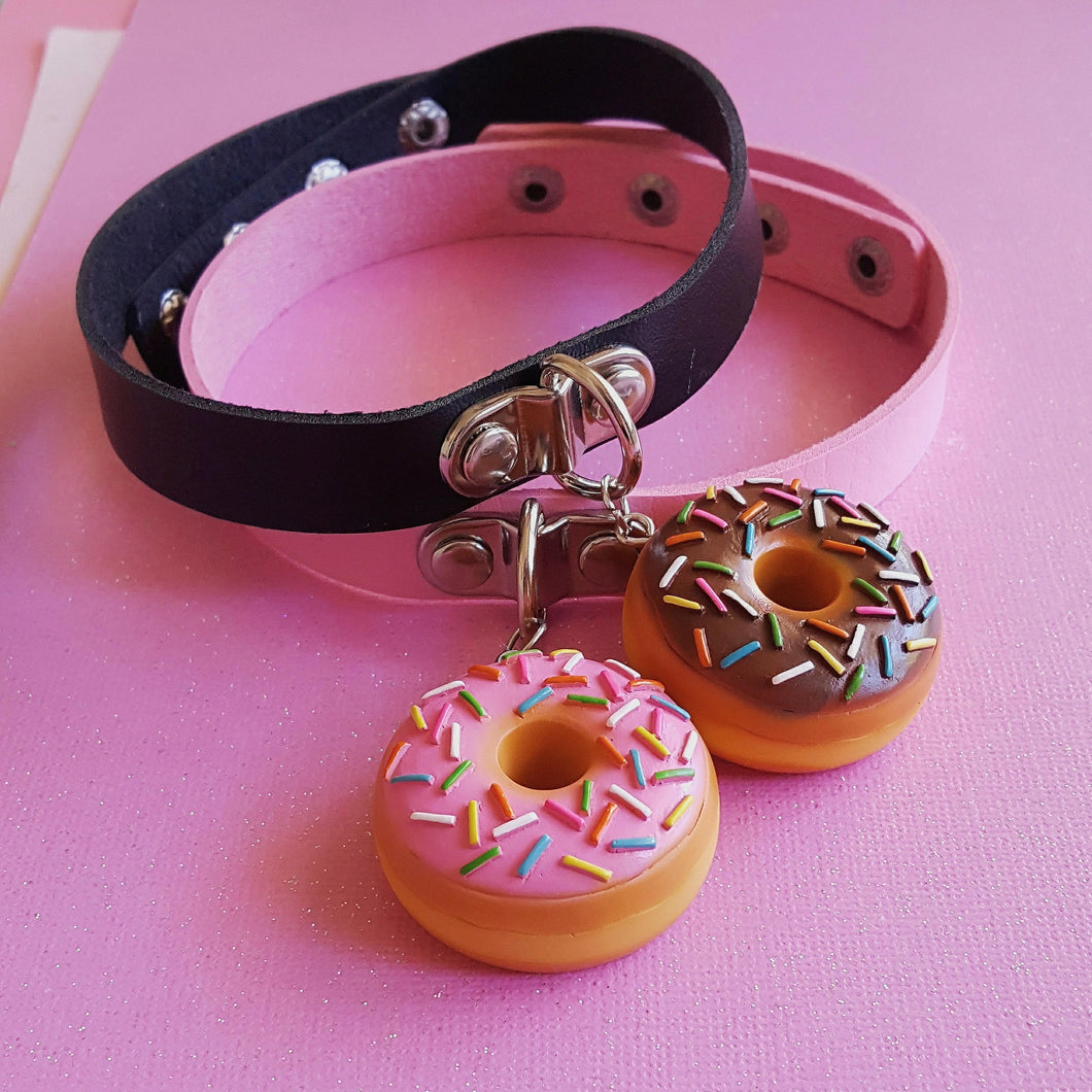 Pink or Chocolate Donut Choker Necklace