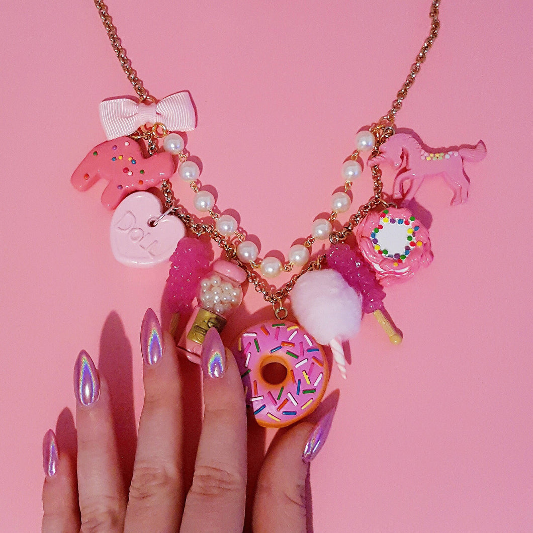 All Pink Candy Necklace  Statement Necklace