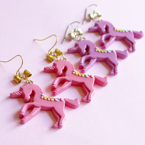 Pastel Pink or Purple Unicorn Earrings