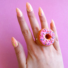 Load image into Gallery viewer, Large Two-finger Donut Ring, Pink or Chocolate