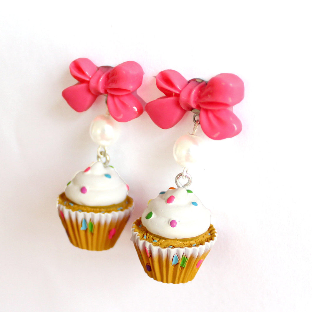 Bow and Pearl Confetti Cupcake Earrings
