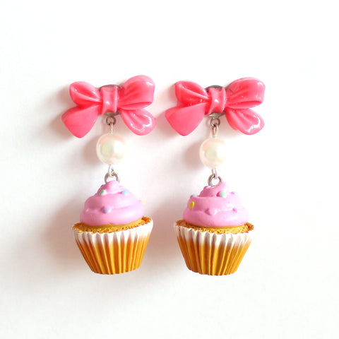 Pink Cupcake Earrings with Bows, Bakeshop Collection, Kawaii Cakes Earrings, Birthday Cake, Pinup Earrings, Rockabilly Jewelry