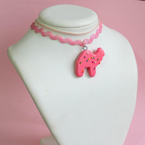 Iridescent Pink Circus Animal Cookie Choker