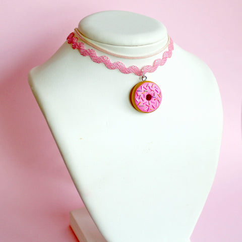 Pink Donut Iridescent Choker Necklace