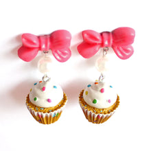 Load image into Gallery viewer, Bow and Pearl Confetti Cupcake Earrings