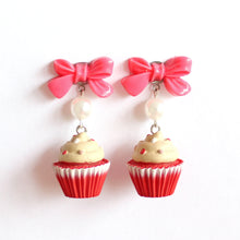 Load image into Gallery viewer, Bow and Pearl Red Velvet Cupcake Earrings
