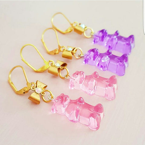 Lucite Gummy Bear Earrings
