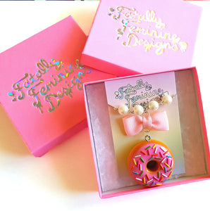 Bow and Pearl Pink Donut Earrings